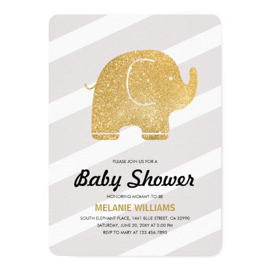 Faux Gold Glitter Elephant Grey Baby Shower Invite