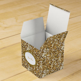 Faux Gold Glitter Favor Gift Box