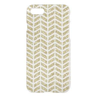 Faux gold glitter foil chevron arrow pattern clear iPhone 7 case