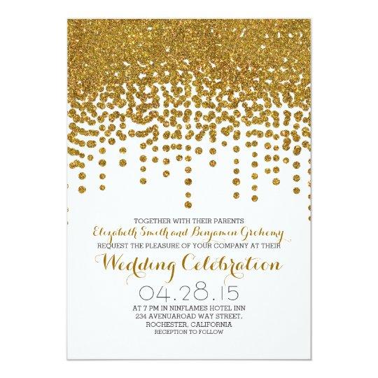 faux gold glitter foil confetti wedding invites