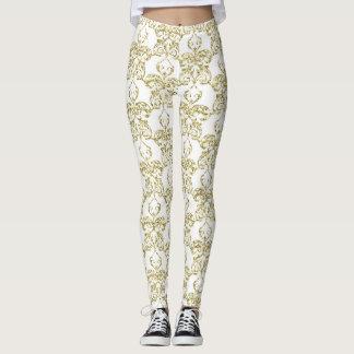 Faux gold glitter foil pear damask pattern leggings