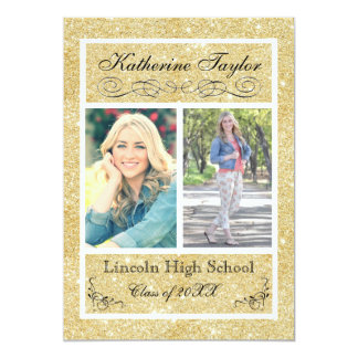 Faux Gold Glitter - Graduation Announcement