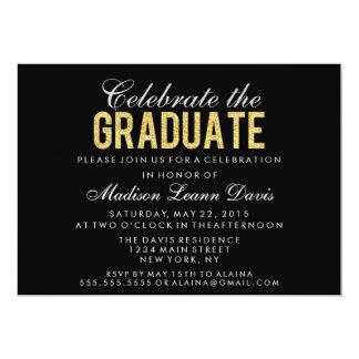 """Faux Gold Glitter Graduation Party Invitation 5"""" X 7"""" Invitation Card"""