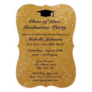 Faux gold glitter graduation party invitations