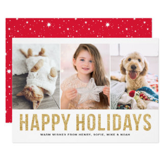 Faux Gold Glitter Happy Holidays | Photo Collage Card