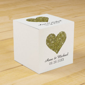 faux gold glitter heart of love / wedding favors favour box