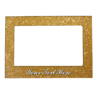 Faux gold glitter image picture frame magnet