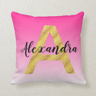 Faux Gold Glitter Initial Letter A Pink Gradient Cushion