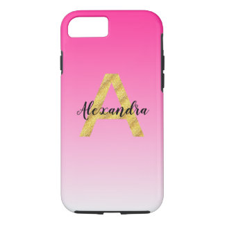 Faux Gold Glitter Initial Letter A Pink Gradient iPhone 8/7 Case