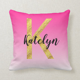 Faux Gold Glitter Initial Letter K Pink Gradient Cushion