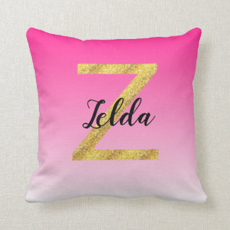 Faux Gold Glitter Initial Letter Z Pink Gradient Cushion