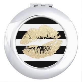 Faux Gold Glitter Lips Round Compact Mirror