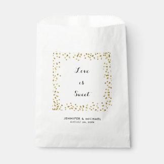 Faux Gold Glitter Love is Sweet Wedding Favor Bag