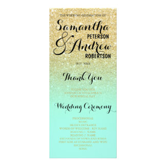 Faux gold glitter mint green Wedding Program front Rack Card