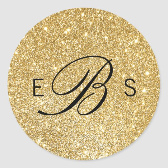 Faux Gold Glitter Monogram Circle Wedding Stickers