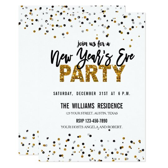 Faux Gold Glitter New Year's Eve Party Invite