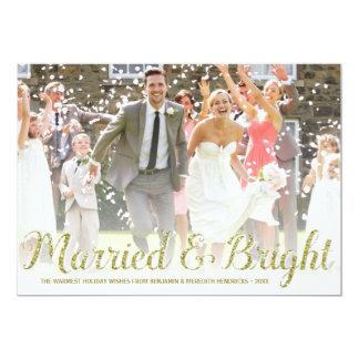 Faux Gold Glitter | Newlyweds Holiday Photo Card 13 Cm X 18 Cm Invitation Card