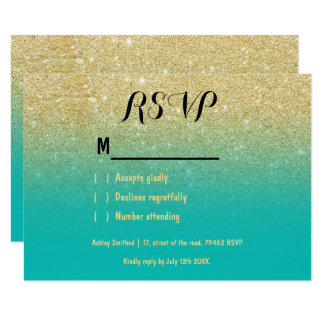 Faux gold glitter ombre turquoise RSVP Card