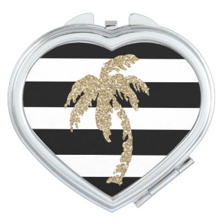 Faux Gold Glitter Palm Tree Heart Compact Mirror