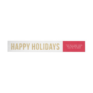 Faux Gold Glitter Photo Collage Happy Holidays Wrap Around Label