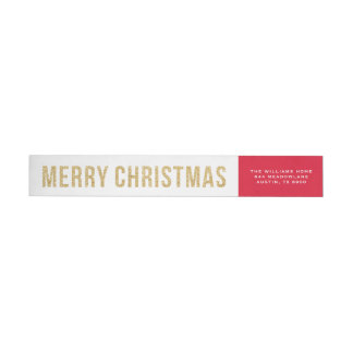 Faux Gold Glitter Photo Collage Merry Christmas Wrap Around Label