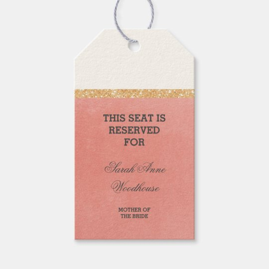 Faux Gold Glitter Pink Wedding Reserved Seat Gift