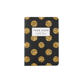 Faux Gold Glitter Polka Dots Pattern on Black Passport Holder