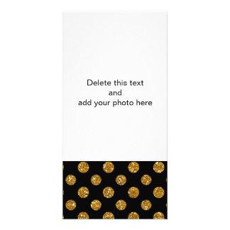 Faux Gold Glitter Polka Dots Pattern on Black Photo Card Template