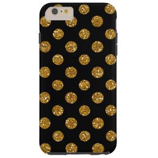 Faux Gold Glitter Polka Dots Pattern on Black Tough iPhone 6 Plus Case
