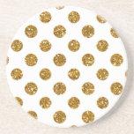 Faux Gold Glitter Polka Dots Pattern on White Beverage Coaster