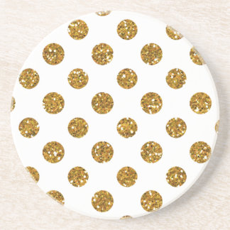Faux Gold Glitter Polka Dots Pattern on White Coaster