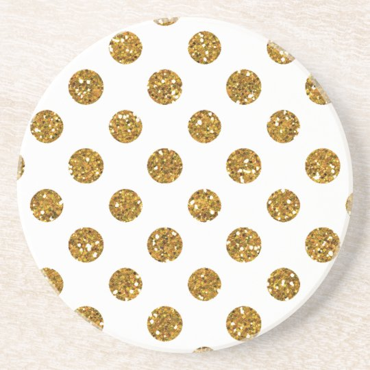 Faux Gold Glitter Polka Dots Pattern on White