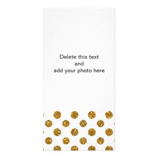 Faux Gold Glitter Polka Dots Pattern on White Custom Photo Card