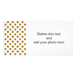 Faux Gold Glitter Polka Dots Pattern on White Picture Card