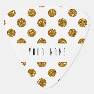 Faux Gold Glitter Polka Dots Pattern on White Plectrum