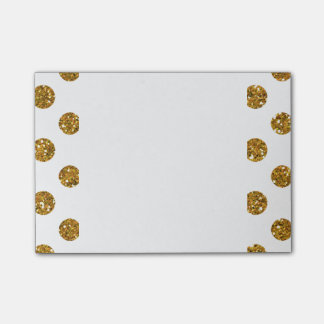 Faux Gold Glitter Polka Dots Pattern on White Post-it Notes