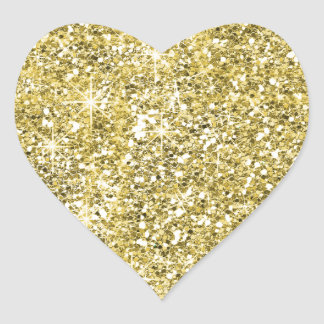 Faux Gold Glitter Print Trendy Heart Stickers