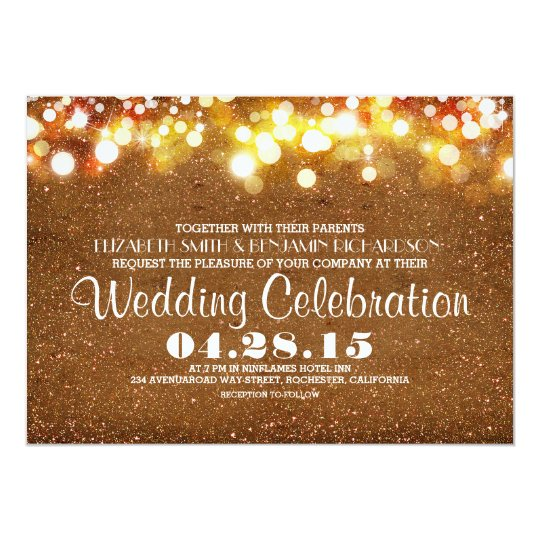 faux gold glitter string lights wedding invitation