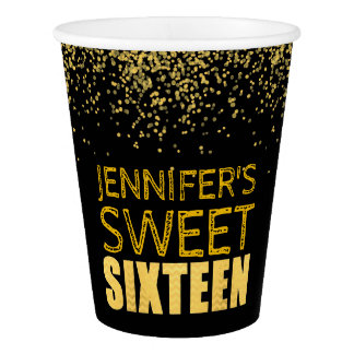 Faux Gold Glitter Sweet 16 Party Paper Cups Black