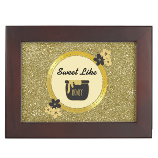 Faux Gold Glitter Sweet Like Honey Keepsake Box