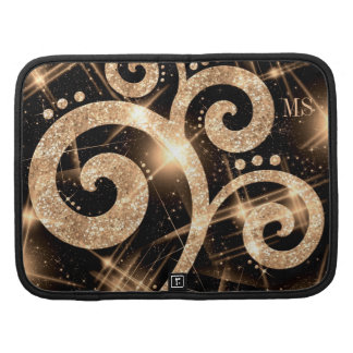 Faux Gold Glitter Swirl Custom Initials Folio Planners