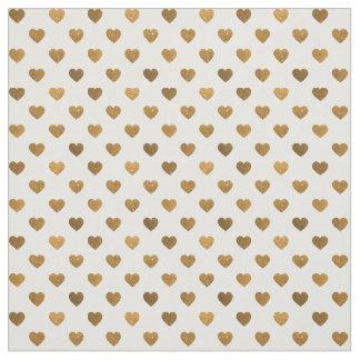 Faux Gold Glitter Tiny Heart Pattern Fabric