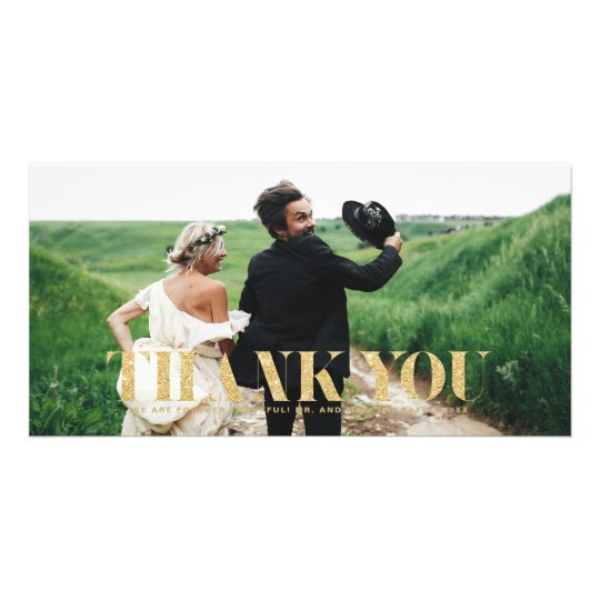 Faux Gold Glitter Typography Wedding Thank You Card