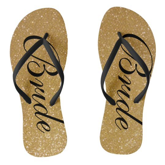 Faux gold glitter wedding flip flops for bride
