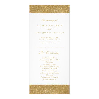 Faux Gold Glitter Wedding Program Rack Cards