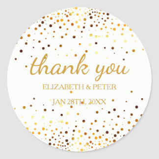 Faux Gold Glitter Wedding Thank You Round Sticker