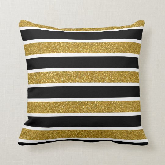 Faux Gold Glitter White & Black Stripes Cushion