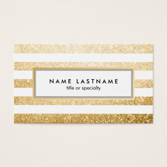 Faux Gold Glitter White Striped Business Card