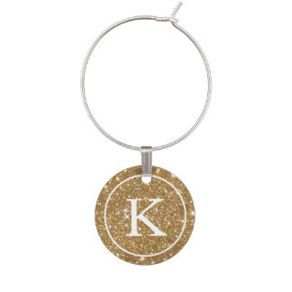 Faux Gold Glitter with Monogram Initial Wine Charm