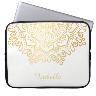 Faux gold Gold Intricate Lace Mandala white Laptop Computer Sleeves